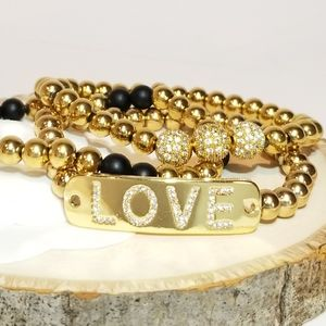 Jewelry - 18K Gold Steel LOVE Pave CZ Bracelet 3pc set NEW